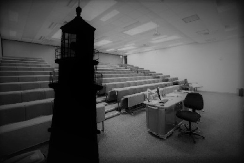 Silhouette of a lighthouse in a lecture theatre of the Herschel Building