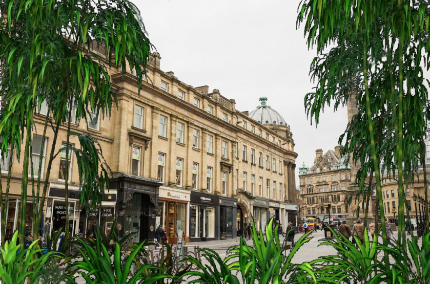 The historic sandstone architecture of the doppelganger city surrounded by thick jungle