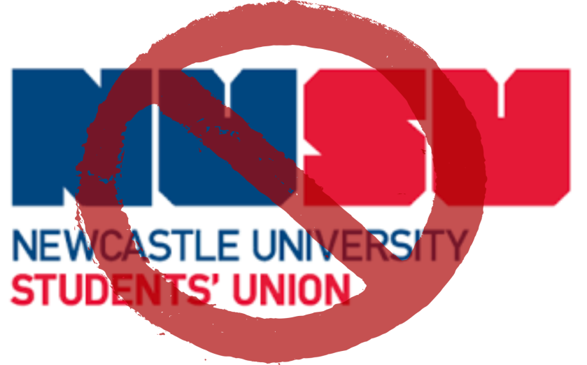 Newcastle Students' Union logo underneath a prohibition sign
